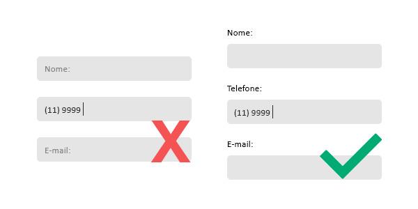 Figura onde mostra um formulário feito com labels nos campos de preenchimento e ao lado um outro formulário feito com os labels fora do campo de preenchimento